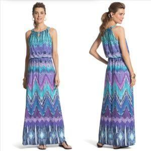Chico's ikat print sleeveless maxi dress cruise 2